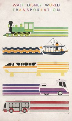 Walt Disney World Transportation travel poster  Illustrator CS5  Art by me =)