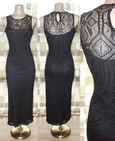 $49.99- Vintage 80s 20s SEXY Crochet Illusion Lace Bombshell Cocktail Flapper Dress M/L