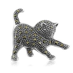 Sterling Silver Marcasite Embellished Animal Kingdom Black Cat At Play Pin Cat Jewelry, Animal Jewelry, Jewelery, Jewelry Accessories, Silver Jewelry, Cat Necklace, Engraved Necklace, Pendant Necklace, Black Gems