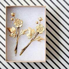 Golden Flower Bobby Pin Set of Two - 11 Main