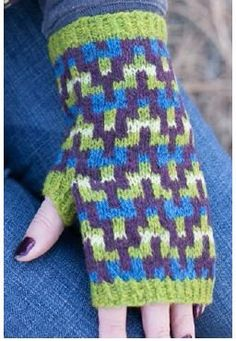 """Croft Mitts, As Seen on Knitting Daily TV with Vickie Howell. Fair Isle technique and a """"afterthought"""" thumb."""