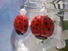 Springtime Ladybug with Pearl, Polymer Clay Earrings by CupK8Creations, $8.00