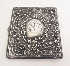 Antique 1895 Sterling Silver STAMP BOX CASE Victorian Repousse Vesta Safe Holder in Antiques, Silver, Sterling Silver (.925) | eBay