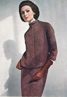 1950s/60s Vintage VOGUE KNIT PATTERN: Women's Smart Tailored Suit, Chanel-style Jacket, Instant Download Pdf from GrannyTakesATrip