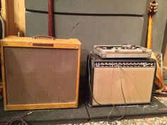 Here's a 1959 Fender Bassman and a 64 Deluxe Reverb, pretty much a holy grail of guitar amplifiers. These belong to LA Jones, who used them on a recent Adrianna Marie album that I produced. Doesn't get much better than this. #guitars #recording