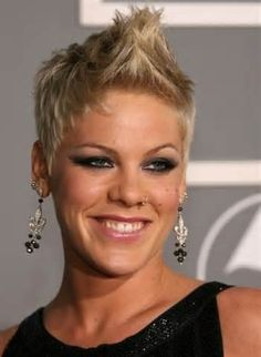 P!nk rocks out with this rounded layered haircut.  This can be worn as a fauxhawk, a pixie style, messy, incredibly versatile for a short cut.