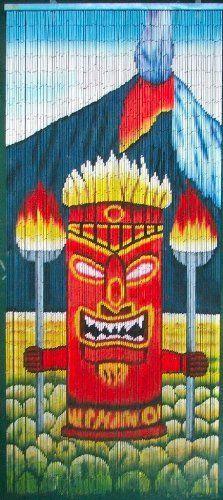 ABeadedCurtain 125 String Tiki Volcano God Beaded Curtain Handmade with 4000 Beads (+Hanging Hardware) More Strands and Beads Hanging Door Beads, Hanging Bar, Painted Bamboo, Hand Painted, Bamboo Beaded Curtains, Tiki Statues, Large Curtains, Tiki Bar Decor, Hawaiian Tiki
