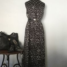 """Just InLeopard Print Midi Dress Cool Comfort for Summer in this Black & Gray toned Leopard Print Midi Dress. Dress is Strapless with elastic at upper bodice & waist and is fully lined. Measures 40"""" from waist to hem. 100% Polyester. Hand wash; line dry. (Belt not included; for styling purposes only). NWOT Forever 21 Dresses Midi"""