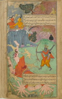 Rama slays Ravana Mughal Paintings, Indian Paintings, Mughal Miniature Paintings, Hanuman, Krishna, Mughal Empire, Traditional Paintings, Illuminated Manuscript, Indian Art