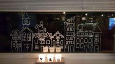 Huizen I + Sint op dak #raamtekening door Sandra L.