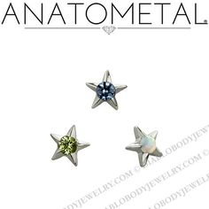 "($19.00) Anatometal Titanium Gem Star Threaded 3/16"" End 18g 16g 14g 12g"