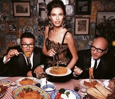 Domenico Dolce and Stefano Gabbana with Bianca Balti for Harper's Bazaar, October 2012