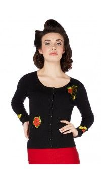 Emilia is a black cardigan with punk tattoo inspired flower embroidery on chest, cuffs and waist. It is a universal piece you will cherish and wear alongside your favourite tops and dresses. Try matching it with our Suki dress for a nautical summer outfit. Matching shank buttons in black Cuffs Round neckline Shoulder, cuff and waist flower embroidery Composed of 75% cotton and 25% elastane