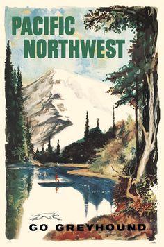 Go Greyhound Pacific Northwest Giclee Art Print