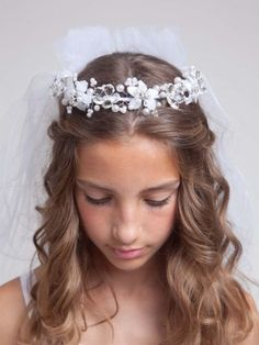 Girls White Jeweled Communion Veil #61