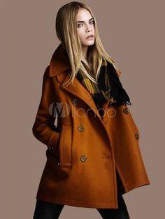 レディースコート,全2色 ダブルボタン ポケット付き ピーコート 冬 大きいサイズ - Milanoo.jp
