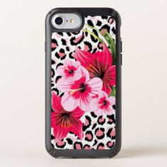 Pink Flowers & Leopard Pattern Print Design Speck iPhone Case - floral style flower flowers stylish diy personalize