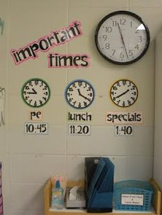 instead of keeping my schedule on the board, I could make these little clocks to put on my clock wall! so cute and fun! adds color and personality!
