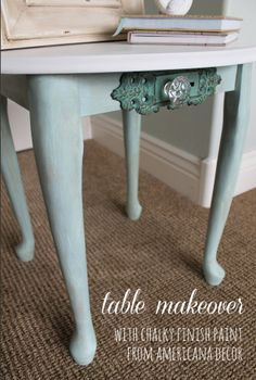 My Sister's Suitcase: Table Makeover with Chalky Finish Paint from Americana Decor.
