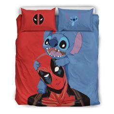 Stitch & Deadpool Disney Custom Bedding Set - Quit Cover + 2 Pillow Ca Quilt Bedding, Bedding Sets, Girl Bedding, Disney Stich, Lelo And Stitch, Lilo And Stitch Quotes, Marvel Room, Disney Bedding, Cute Stitch