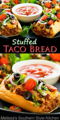 Top this open faced Taco Stuffed Bread with your favorite taco fixins' then slice and serve #tacos #tacostuffedbread #tacorecipes #easygroundbeefrecipes #mexican #mexicanfood #breadrecipes #dinner #appetizers #gamedayfood ##superbowlfood #tacobread #taco #southernfood #southernrecipes