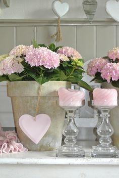 Hidrangeas, candles and heart ღ ✿