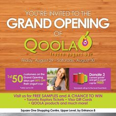 """@qoolafrozenyogurt's photo: """"Thats right, we have another Grand Opening this weekend. Qoola Square One in #Mississauga. Bring 3 canned food items and get $10 of Frozen Yogurt. #FoodBank #SquareOne #Ontario #freestuff #grandopening"""""""