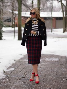 Striped Plaid Jacket: Zara {old, similar} | Turtleneck: J. Crew | Skirt: Zara {similar} | Shoes: Zara {similar} | Necklaces: Ily Couture, Purple Paparazzi | Sunnies: Karen Walker | Bag: Chanel | Watch: Michael Kors | Bracelet: T+J Designs
