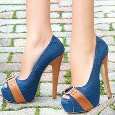 Material:Denim|Heel Height:14cm|Embellishment:Platform