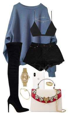 """Untitled #426"" by naomiariel ❤ liked on Polyvore featuring Gucci, Sergio Rossi, Levi's, Yves Saint Laurent, Miss Selfridge, Cartier, Rolex and Louis Vuitton"
