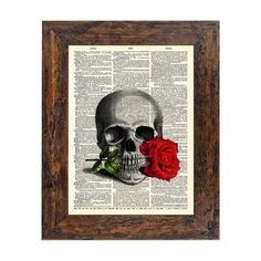 A Rose For the Dead Original Print on an Unframed Upcycled Bookpage - Etsy Avant Print