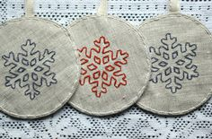 Set of 3 Snowflake Ornaments / Embroided Christmas Ornament / Fabric Dercoration. $20.00, via Etsy.