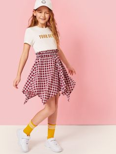 To find out about the Girls Letter Print Top & Hanky Hem Gingham Skirt Set at SHEIN, part of our latest Girls Two-piece Outfits ready to shop online today! Girls Fashion Clothes, Kids Outfits Girls, Cute Girl Outfits, Tween Fashion, Cute Outfits For Kids, Teen Fashion Outfits, Baby Girl Fashion, Cute Fashion, Cool Outfits