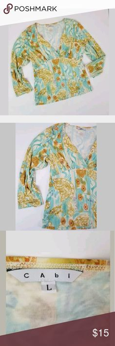 Cabi Surplice Mixed Media Top Large Cabi Mixed Media Blue Surplice Plunge Top 3/4 Sleeve Size Large Laid Flat Bust 36 Plus Stretch Length 22 CAbi Tops Blouses