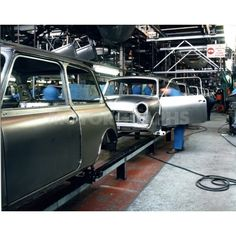 Longbridge Mini assembly old photo by Classic Mini, Classic Cars, Mini Cooper Custom, Cooper Car, Assembly Line, Assemblage, Great British, Hot Cars, Wonders Of The World