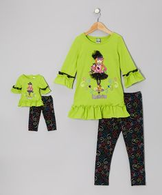 Take a look at this Lime & Black 'Fabulistas' Ruffle Tunic Set & Doll Outfit - Girls on zulily today!