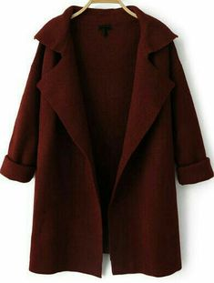 For Vonzel Shop Wine Red Lapel Long Sleeve Loose Knit Coat online. SheIn offers Wine Red Lapel Long Sleeve Loose Knit Coat & more to fit your fashionable needs. Fashion Online Shop, Red Long Sleeve Tops, Knitted Coat, Look Fashion, Fall Fashion, Red Fashion, Knit Cardigan, Long Cardigan, Cardigan Sweaters