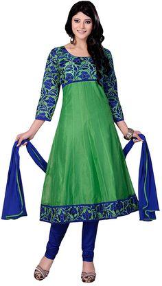 #Green & Blue #Salwar Kameez  Check out this page now :-http://www.ethnicwholesaler.com/salwar-kameez