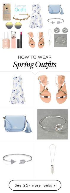 """summer outfit"" by briellebeeks on Polyvore featuring Lipsy, Ancient Greek Sandals, Kate Spade, Bling Jewelry, Charlotte Russe, Vince Camuto, Essie, HUGO, Le Métier de Beauté and Matthew Williamson"