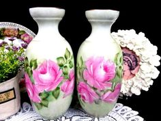Vintage Germany painted pink roses set of VASES cabbage roses painted set over lime green Vases For Sale, Rose Vase, Cabbage Roses, Paint Set, Fine Porcelain, Green Colors, Pink Roses, Lime, Germany