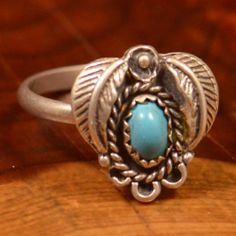 Vintage Sterling Silver - Braided Oval Turquoise 2.4g - Ring (5.25) EU619