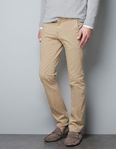 CHINOS WITH FAUX LEATHER PATCH - Trousers - Man - New collection - ZARA United States