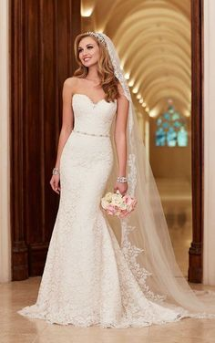 Stella York 6124 Strapless, sweetheart lace dress from Stella York.