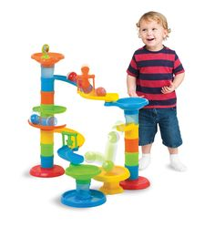 Roll & Bounce Tower and over 7,500 other quality toys at Fat Brain Toys. Curving, swirling pathways - Flipping and spinning, colorful panels - Funnels, drops, and most amazing of all, a ball-bouncing trampoline! - Young minds reel with vibrant excitement!