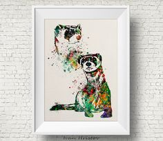 Colorful Ferret 2 Watercolor ferret painting by IvanHristov