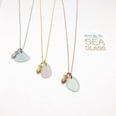 These little pineapple charms make everything look like summer! Available in all three colors of gold- white comes with grey sea glass. Yellow gold comes with lavender sea glass and rose is paired with a pretty mint color!!! All sea glass is genuine, surf tumbled glass that comes straight from the