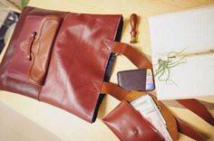 Cow Leather/ Handmade Side Carrying Tote Bag Pouch