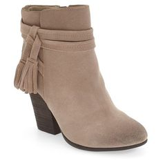 Women's Very Volatile 'Enchanted' Tassel Detail Bootie (€90) ❤ liked on Polyvore featuring shoes, boots, ankle booties, taupe suede, suede bootie, taupe ankle boots, taupe suede booties, taupe bootie and taupe ankle booties