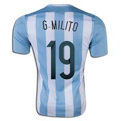 Gabriel Milito 19 2015 Copa America Argentina Home Soccer Jersey