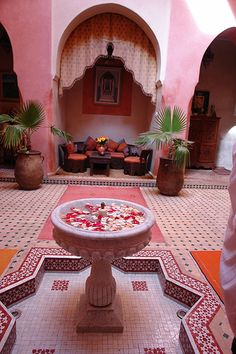 55 Awesome Morocco-Style Patio Designs : 55 Charming Morocco Style Patio Designs With White Pink Wall Brown Sofa Pillow Table Pond Plant Decor Ceramic Floor And Wooden Table Moroccan Room, Moroccan Interiors, Moroccan Decor, Moroccan Design, Moroccan Style, Arabesque, Porches, The Sims 2, Tree House Plans